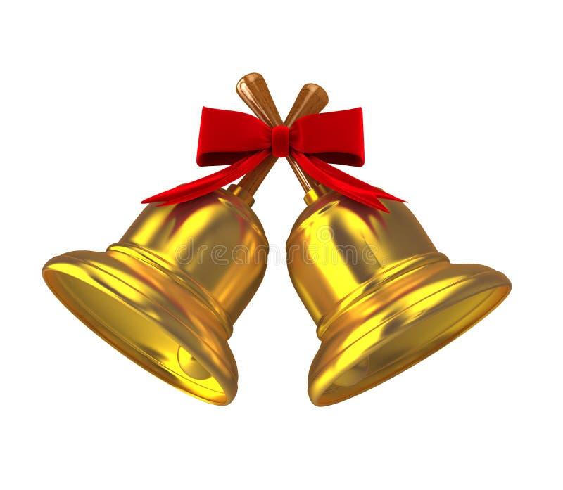 Gold christmas handbell over white vector illustration