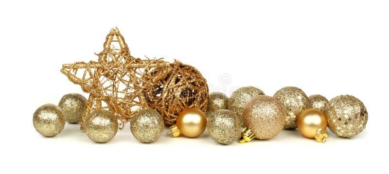 Gold christmas ornament border stock image