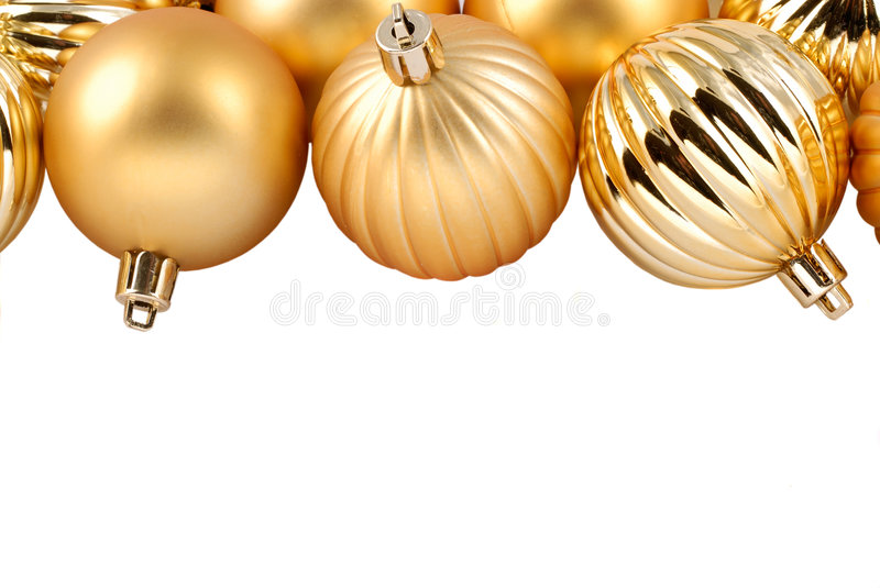 Gold Christmas Ornaments stock photo