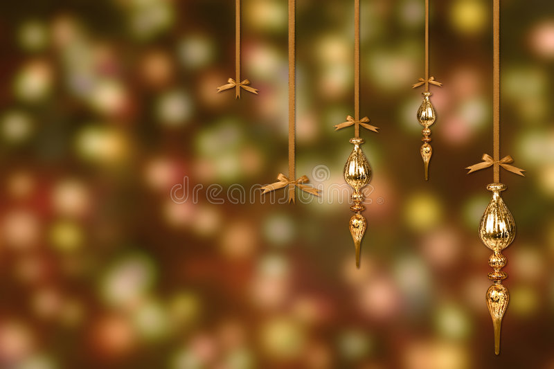 Download Gold Christmas Ornaments On A Blurry Lit Backgroun Stock Image - Image: 7353239