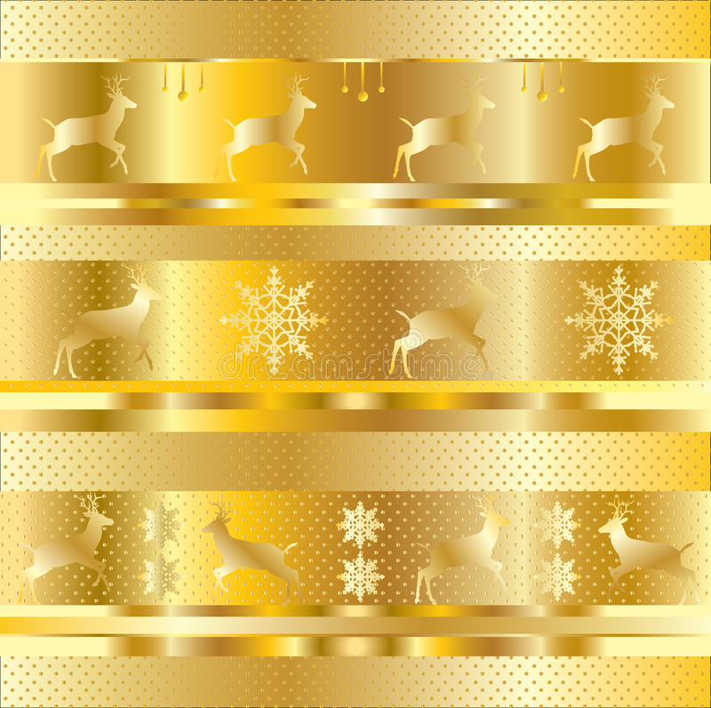 Gold Christmas pattern. With winter holiday elements gold strips and reindeer, snowflake, small polka dots on gold background. Vector file with layers. Digital stock illustration