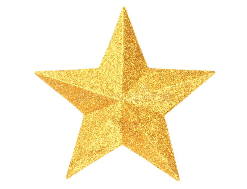 Gold Christmas star on white royalty free stock photography
