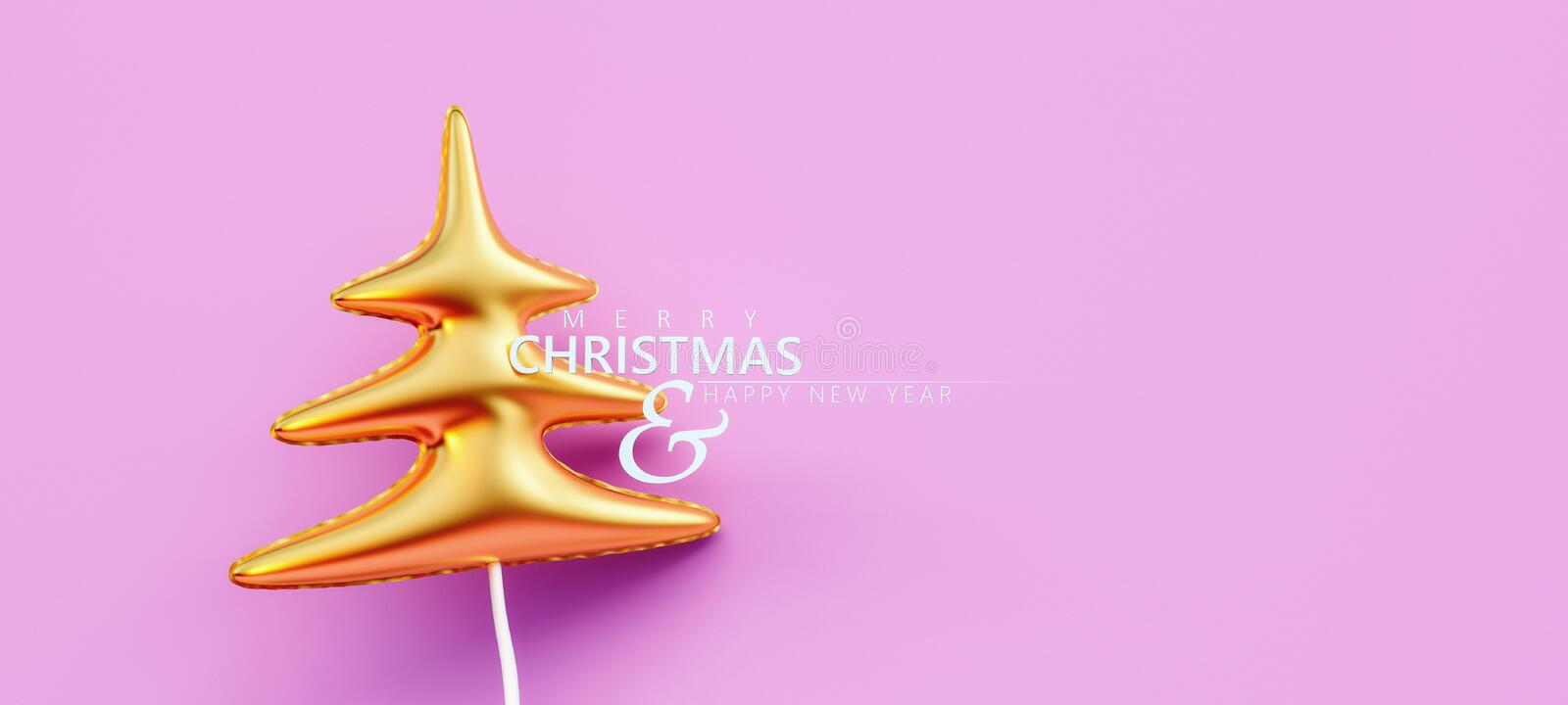 Gold Christmas tree balloon decoration on pink background. 3D Rendering stock photo