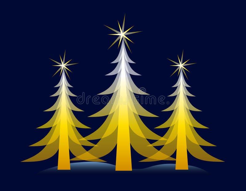 Gold Christmas Tree on Blue Card vector illustration