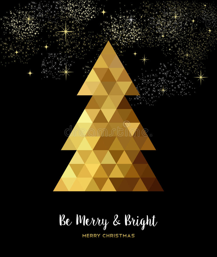 Gold Christmas tree design in gold low poly style vector illustration