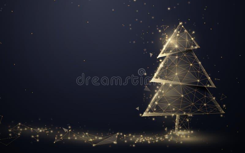 Gold christmas tree och Sparkling light garland från linjer, trianglar och partikelstildesign Illustrationsvektor royaltyfri illustrationer