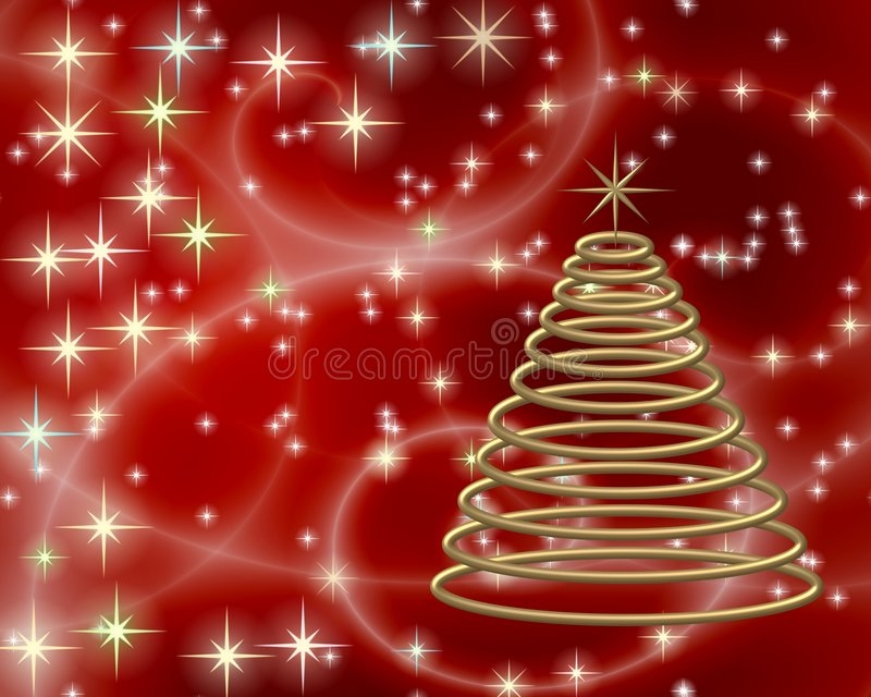 Download Gold Christmas tree on red stock illustration. Image of twinkling - 7284019