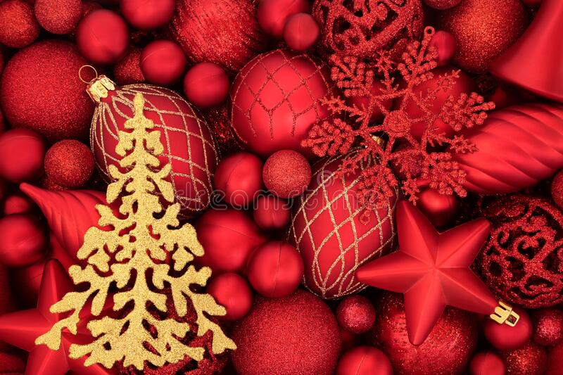 Gold Christmas Tree and Red Bauble Background royalty free stock images