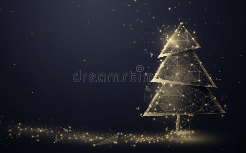 Gold christmas tree and Sparkling lights garland from lines, triangles and particle style design. Illustration vector.  royalty free illustration