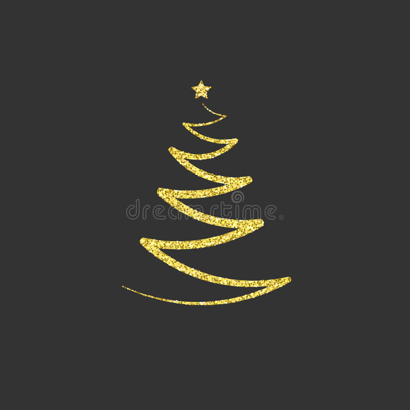 Gold Christmas tree with a star. golden glitter. icon, symbol, e royalty free illustration