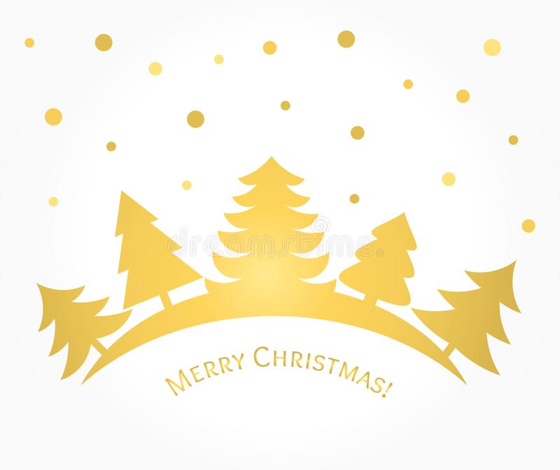 Gold Christmas trees card. Vector illustration royalty free illustration