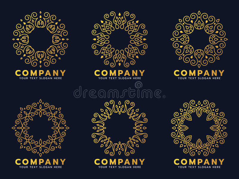 Gold circle flower line art for logo and frame vector set design vector illustration