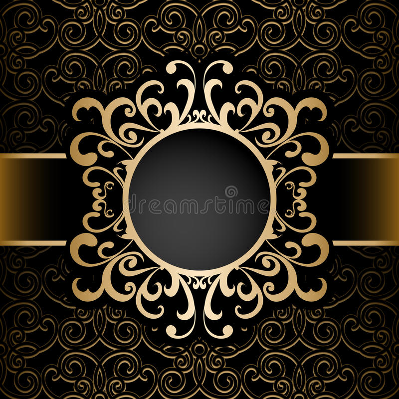 Free Gold Circle Frame Over Pattern Royalty Free Stock Photos - 49087288
