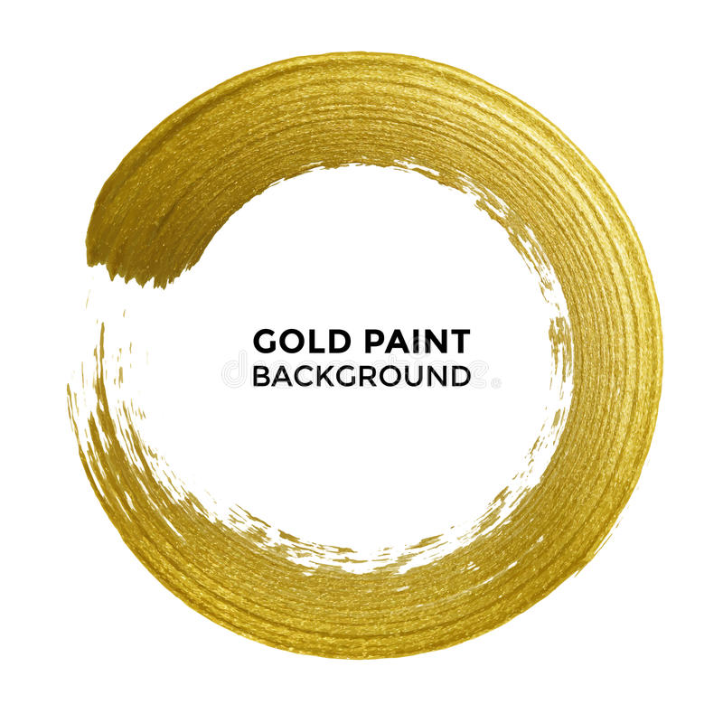 Gold circle glitter texture paint brush on vector white background royalty free illustration