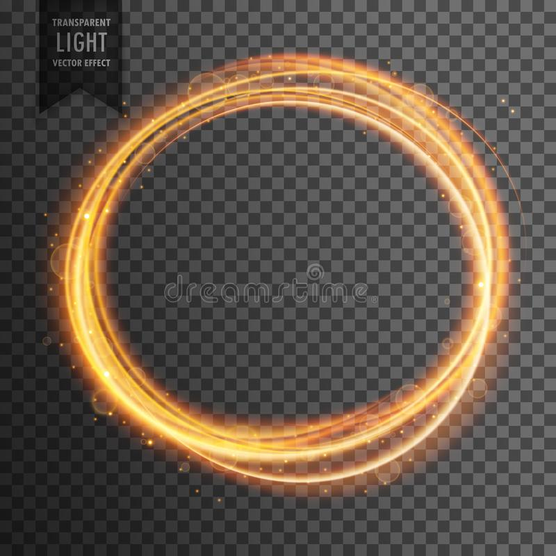 Gold circle light effect on transparent background stock illustration