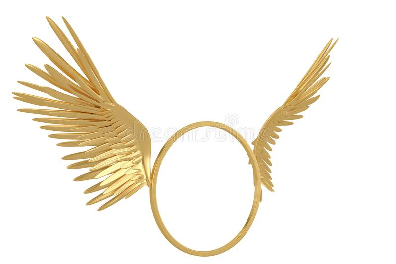 Gold circle with wings isolated on white background 3D illustration stock illustration