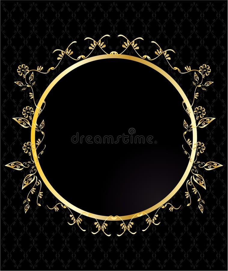 Gold circular floral frame royalty free illustration