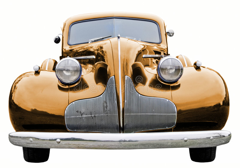 Gold Classic Car. A close up on a gold classic car royalty free stock photos