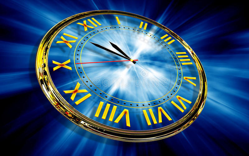 Gold clock on abstract blue background royalty free illustration