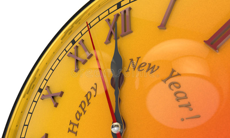 Gold clock, midnight...Happy New Year...Merry Christmas. 3D illustration. Christmas symbol and metaphor (the orange clock). Happy New Year. Black background. 3D vector illustration