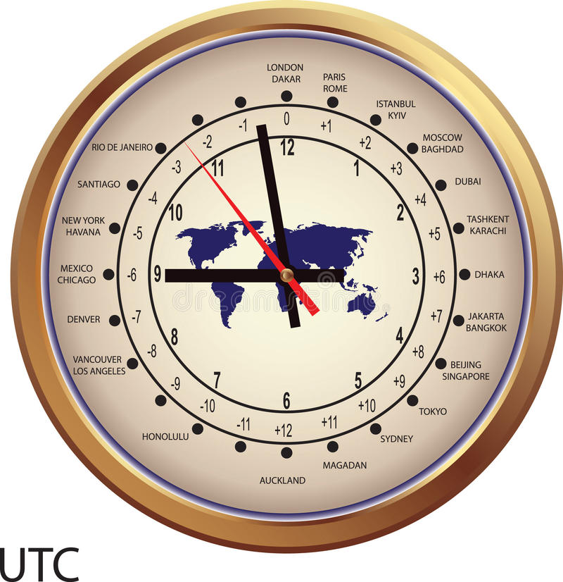 Gold clock with time zones. And map vector illustration