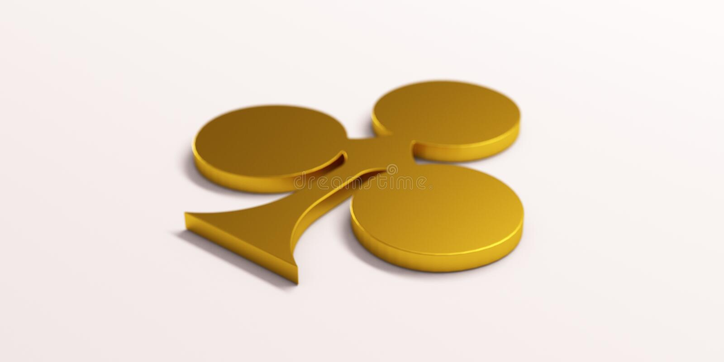 Gold Clover Poker Card Symbol. 3D Render Illustration stock illustration