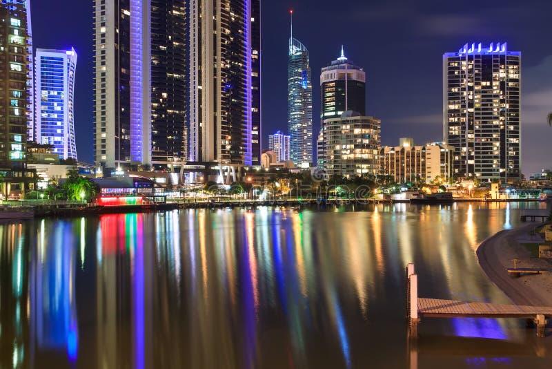 Gold Coast在晚上 库存照片