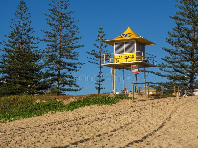 Gold Coast, Ausrtralia lifeguard watch tower. Surf life savings watch tower in Gold Coast, Australia, looking out for surfers and swimmers stock image