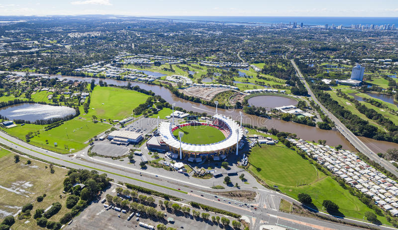 GOLD COAST, AUSTRALIA – JUNE 16: Aerial view of Metricon Stadium on June 16, 2013 on Gold Coast, Australia. Metricon Stadium is royalty free stock photography