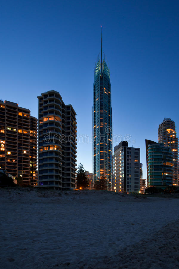 Gold Coast at dusk royalty free stock photography
