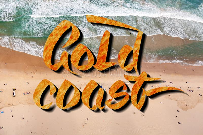 Gold coast hand lettering over aerial view landscape photograph of people on the beach in Queensland, Australia. Gold coast hand lettering over aerial view stock images