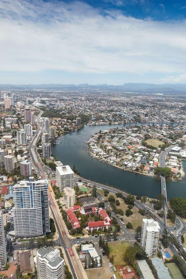 Gold Coast Queensland Austrália - opinião aérea do rio de Nerang - Sur foto de stock royalty free