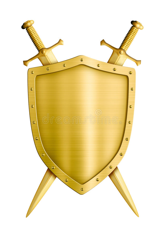 Gold coat of arms medieval knight shield and vector illustration