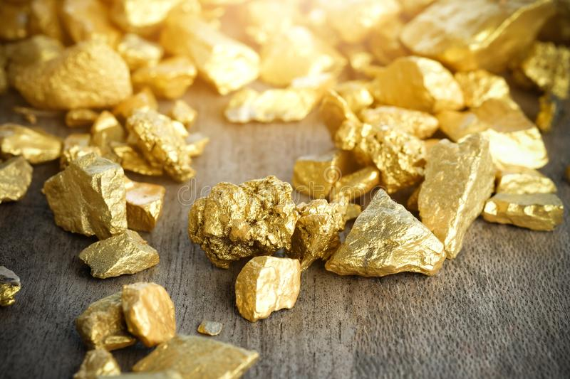 Gold coffee beans on a pile of coffee beans. Close up lump of gold mine on wooden table stock photos