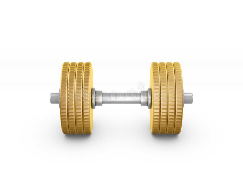 Gold Coin Barbell Stock Photography