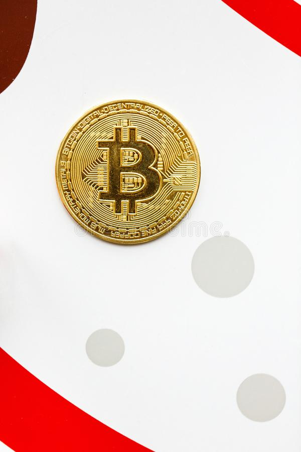 The gold coin bitcoin on a color background stock photo