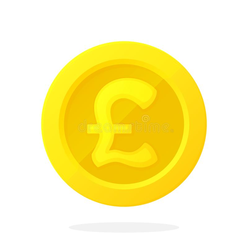 Gold Coin Of British Pound In Flat Style Stock Vector Illustration