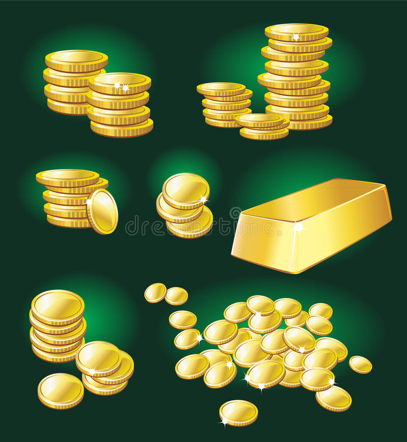 Gold coin and bullion. On a green background vector illustration