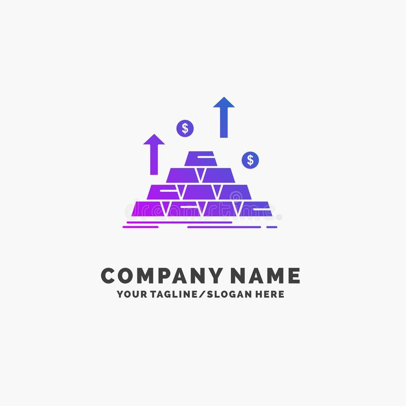 gold, coin, cash, money, growth Purple Business Logo Template. Place for Tagline stock illustration