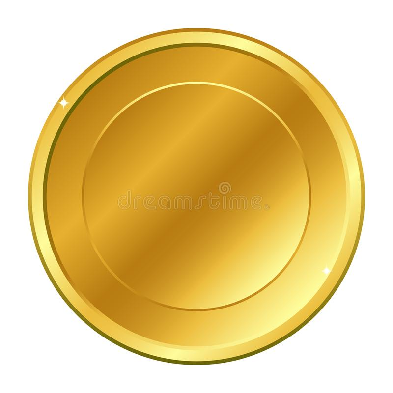 Gold coin with circle inside. Vector illustration isolated on white background. royalty free stock photos