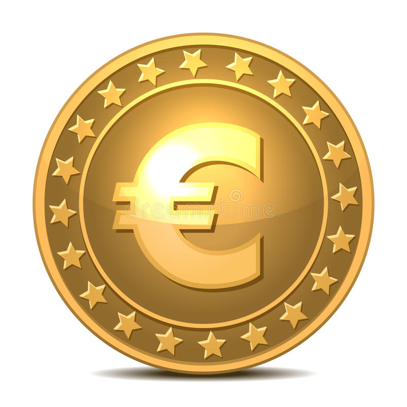 Gold coin with euro sign. stock illustration