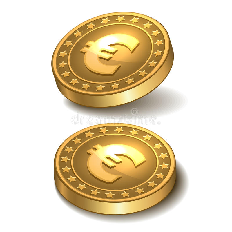 Download Gold coin with euro sign. stock illustration. Image of background - 34747681
