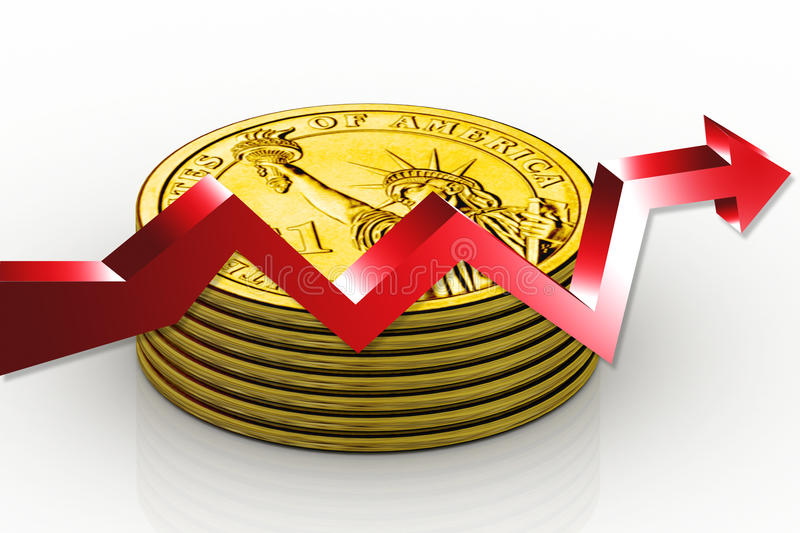Gold Coin And Graph Royalty Free Stock Images