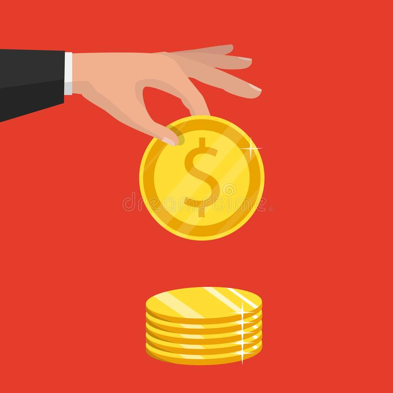 Isolated on background. Vector illustration. Gold coin in hand stock illustration
