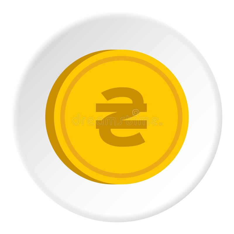 Gold coin with hryvnia sign icon circle. Gold coin with hryvnia sign icon in flat circle isolated vector illustration for web royalty free illustration