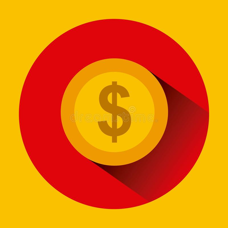 Gold coin icon. Over red circle and yellow background. colorful design. illustration stock illustration