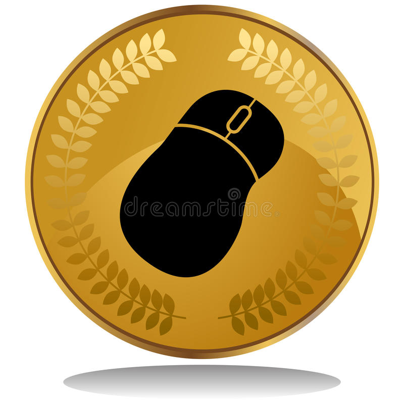 Gold Coin - Mouse. 3D image of a gold coin with laurel wreath - computer mouse vector illustration