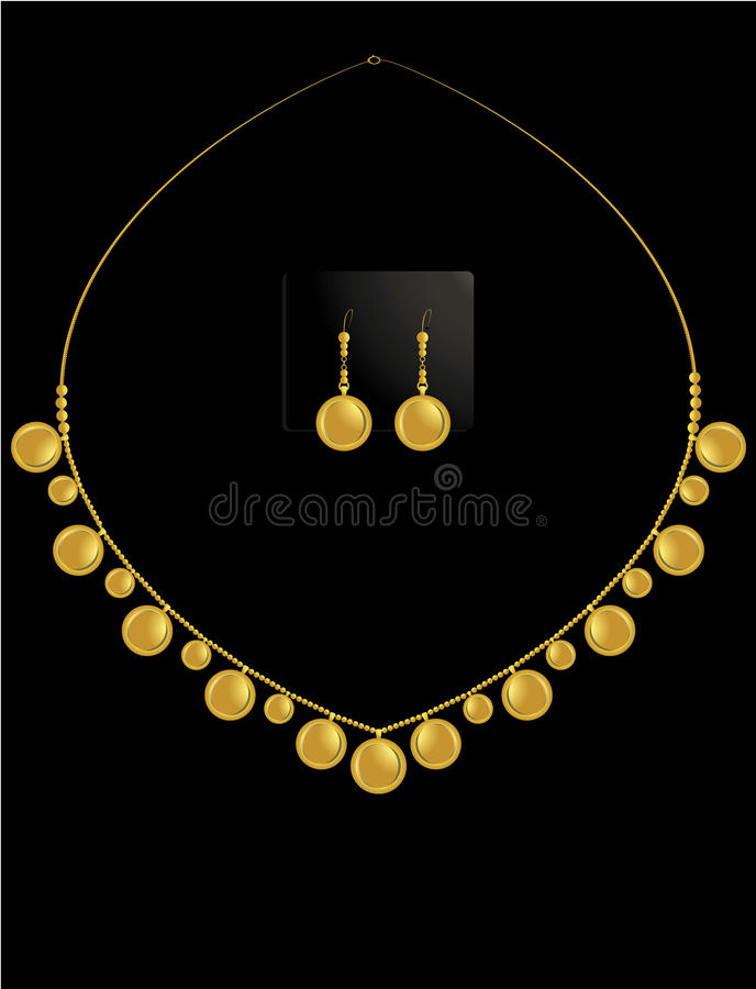 Gold coin necklace set 1 vector illustration