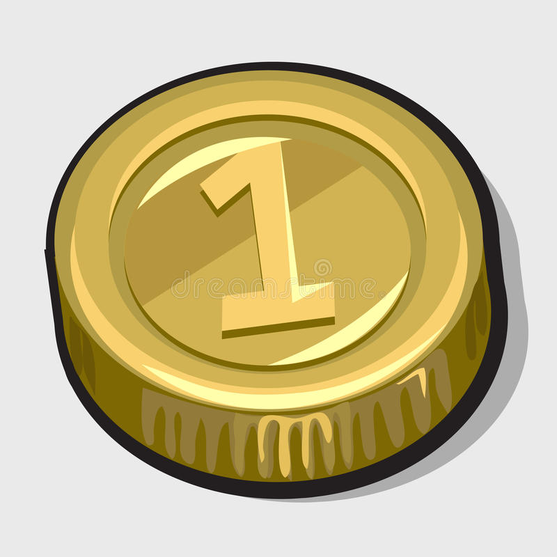 Gold coin with the number one. Vector icon royalty free illustration