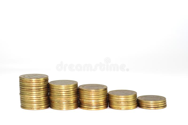 Gold coin pile isolated on white background.  royalty free stock photo
